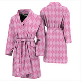 Pink Argyle Mens Bathrobe