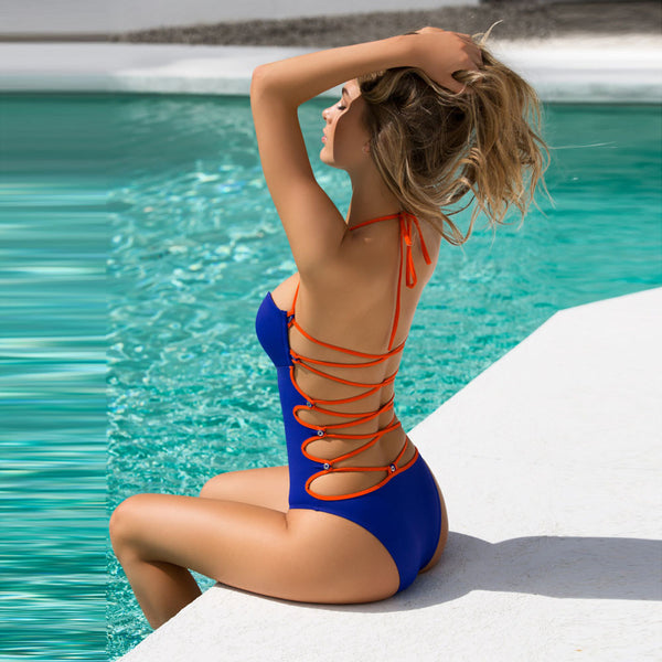 One-Piece back-laced Swimsuit - UShopO Online Store
