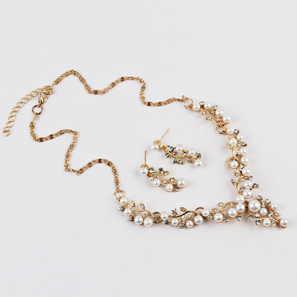 Pearl Rhinestone Necklace + Earrings - UShopO Online Store