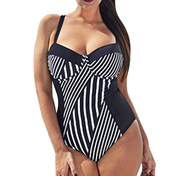 Striped One-Piece Swimsuit - UShopO Online Store