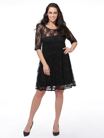 (SOLD OUT) A-Line Lace & Chiffon Dress - UShopO Online Store