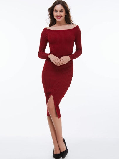 (SOLD OUT) Slash Neck Sweater Dress - UShopO Online Store