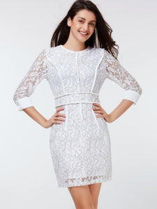 (SOLD OUT) Classy White Bodycon Dress - UShopO Online Store