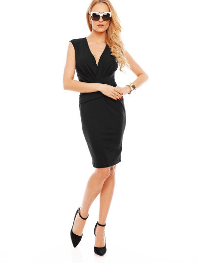 (SOLD OUT) Wear to Work Plain V-Neck Dress - UShopO Online Store