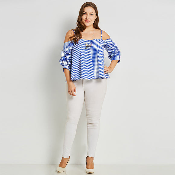 Off-shoulder Plaid Top - UShopO Online Store