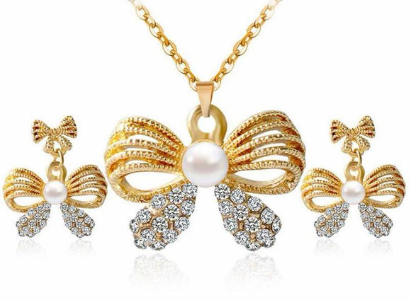 Crystal Bow-Knot Necklace and Earrings Set - UShopO Online Store