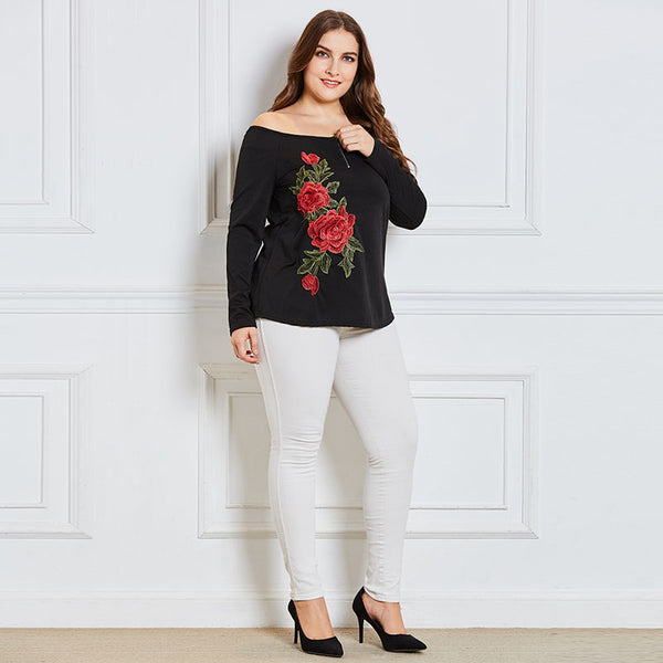 (SOLD OUT) Shoulderless Floral Embroidery Top - UShopO Online Store