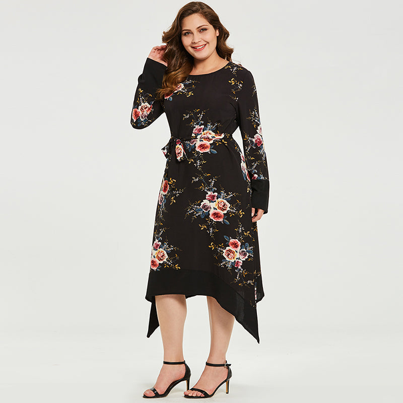 Long Sleeve Floral Print Dress - UShopO Online Store