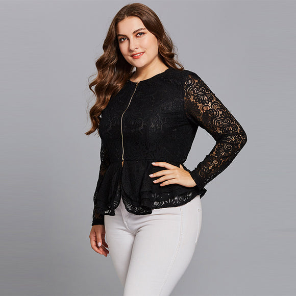 (SOLD OUT) Slim Lace Zipper Jacket - UShopO Online Store