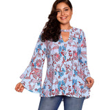 Floral Print Flare Sleeve Top - UShopO Online Store
