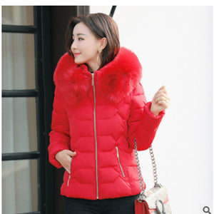 FAUX FUR HOODED PADDED COAT