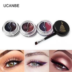 UCANBE Brand 2 Colors Gel Eyeliner Makeup Palette Shimmer Matte Waterproof Lasting Not Blooming Eye Liner Gel Cream With Brush