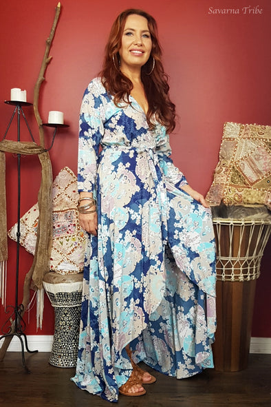 Long Wrap Dress - Blue Blossom Song Print 3/4 Sleeves - Hot Seller Be Quick!
