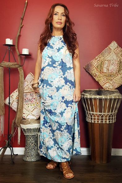 Vicki Maxi Dress - Blue Blossom Song Print Comes With Removable Waist Tie