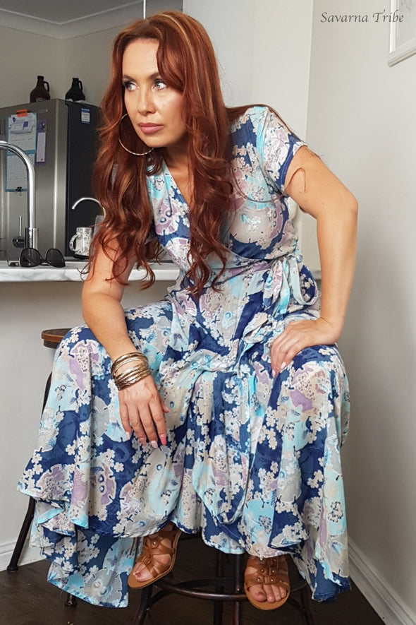 Long Wrap Dress - Blue Blossom Song Print With Cap Sleeves