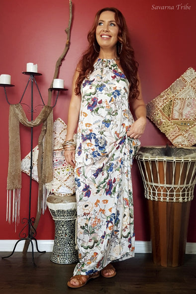 Vicki Maxi Dress - Natures Flora Print Comes With Removable Waist Tie