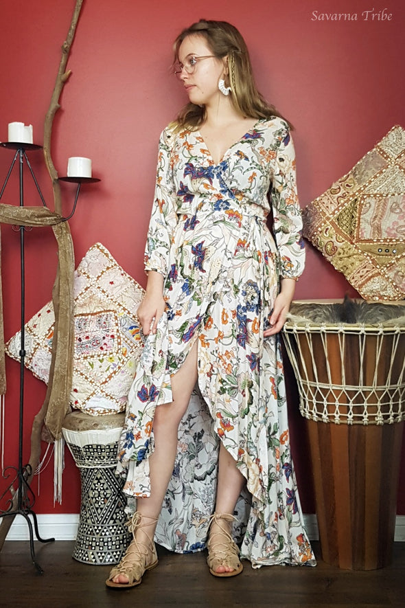 Long Wrap Dress - Natures Flora Print with 3/4 Sleeves