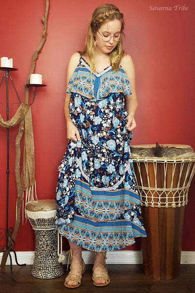 Laura Dress - Blue Paisley Flower Print With A Touch of Tribal