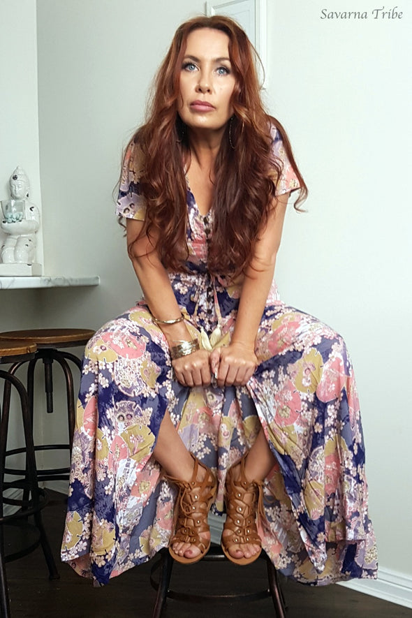 Purple Blossom Song Button Down Gown - Short Sleeve