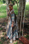 Long Wrap Dress - Coco Green Print 3/4 Sleeves