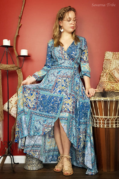 Long Wrap Dress - Coco Blue Print with 3/4 Sleeves