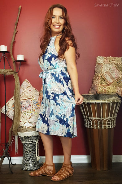 Vicki Midi Dress - Blue Blossom Song Print Comes With Removable Waist Tie