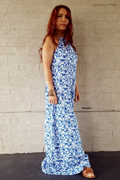 Vicki Maxi Dress - Resort Girl Print With Removable Waist Tie