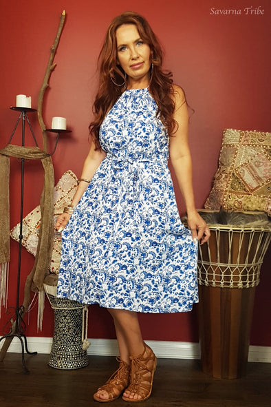 Vicki Midi Dress - Gorgeous Resort Girl Print Comes With Removable Waist Tie