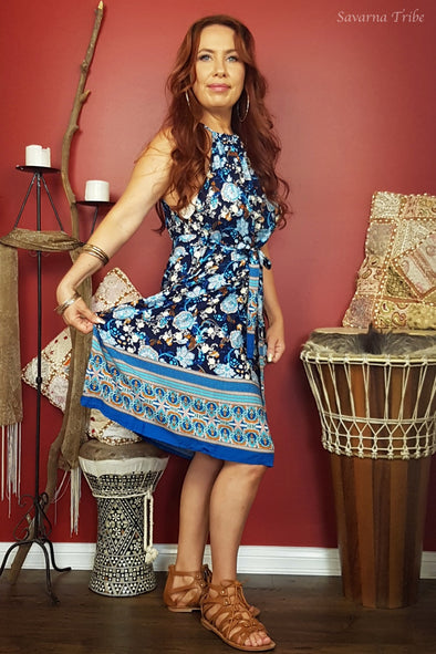 Vicki Midi Dress - Paisley Flower Tribe Print Comes With Removable Waist Tie