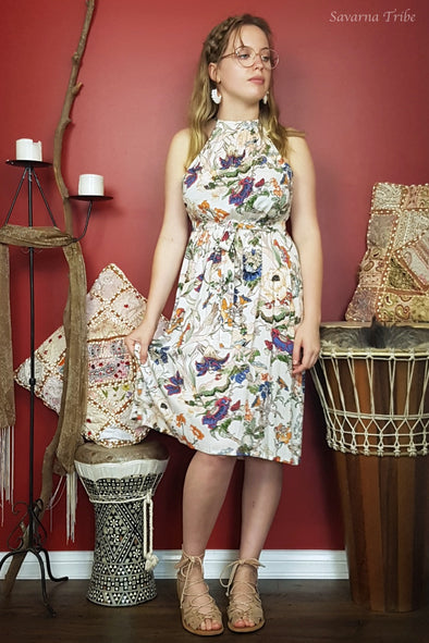 Vicki Midi Dress - Natures Flora Print Comes With Removable Waist Tie