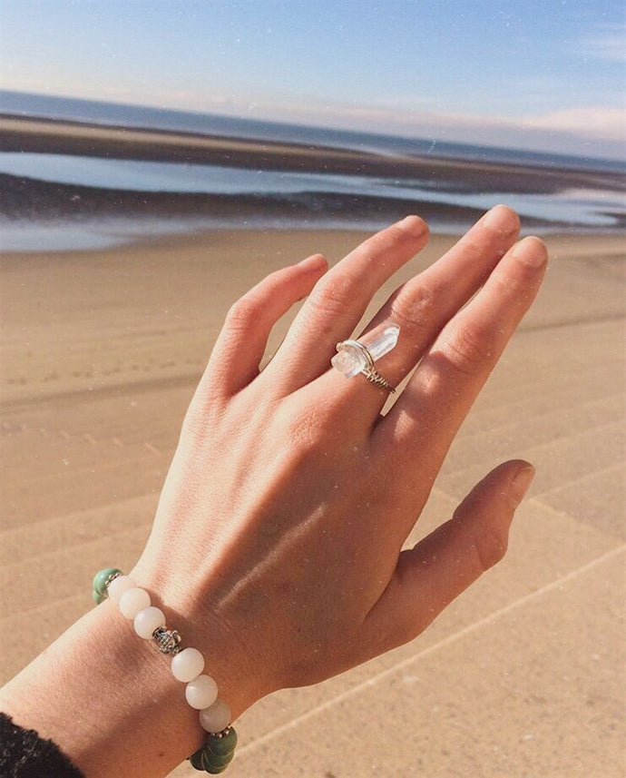 Honu Sea Turtle Bracelet and Crystal Quartz Ring