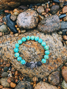Lava Rock Sea Turtle Bracelet - Nautical Sun Beads