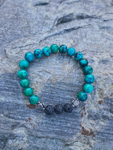 Earth Green & Blue Sea Turtle Bracelet - Nautical Sun Beads