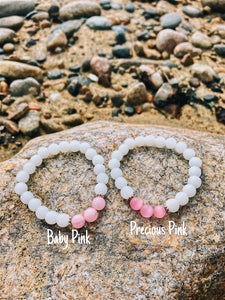 Minimalist Pink & White Bracelet - Nautical Sun Beads