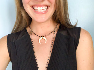 Midnight Black Ox Horn Necklace