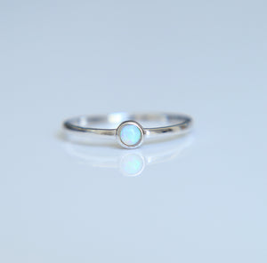 Dainty Round Opal Ring - Nautical Sun Beads