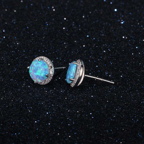Ocean Blue Opal Stud Earrings