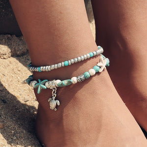 Turquoise Turtle Anklet - Nautical Sun Beads