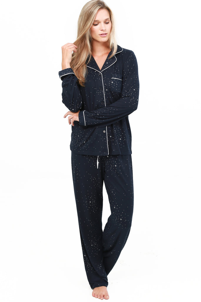 JNY-FOIL PRINTED TAILORED COLLAR PAJAMA