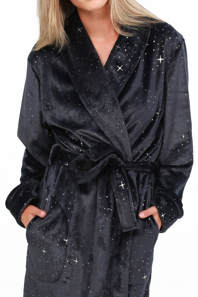 JNY-FOIL PRINTED ROYAL PLUSH ROBE
