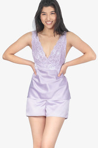 JNY - Satin Shorts Set With Lace (Lilac)