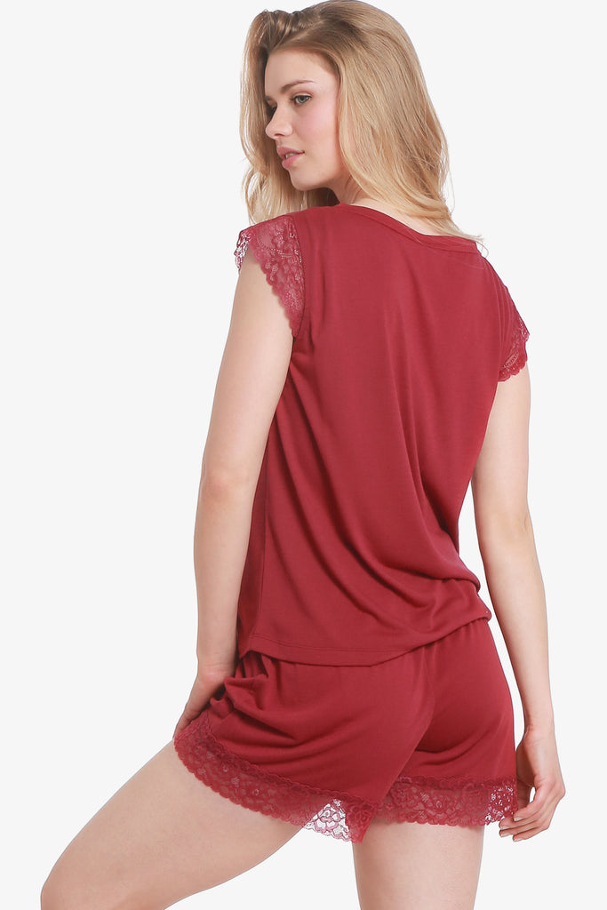 JNY - Lacey Cap Sleeve Pajama Top Only (Beaujolais)