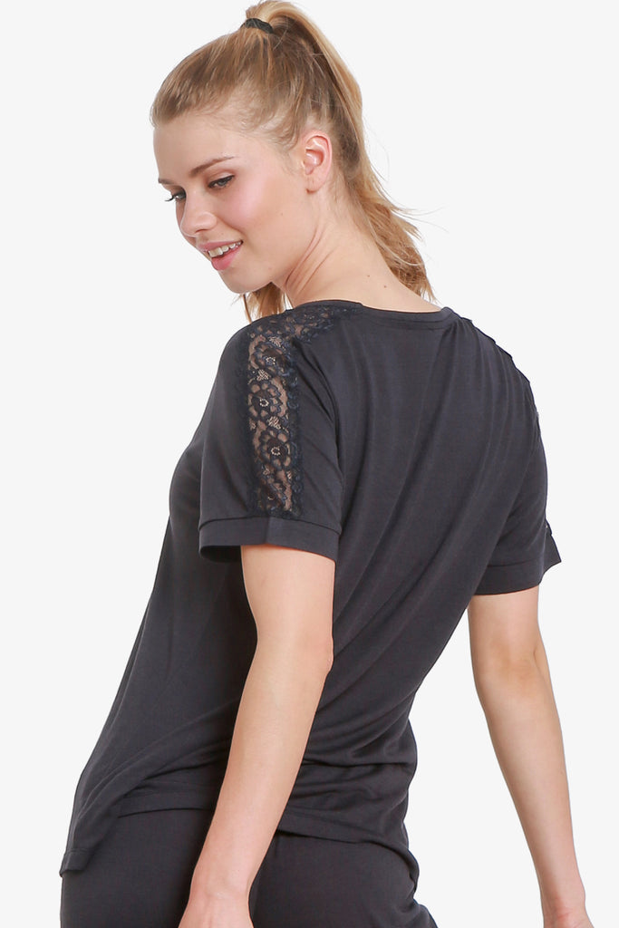 JNY - Lacey Short Sleeve Pajama Top Only (Vulcan)