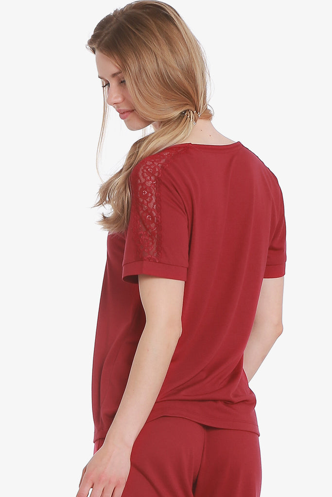 JNY - Lacey Short Sleeve Pajama Top Only (Beaujolais)