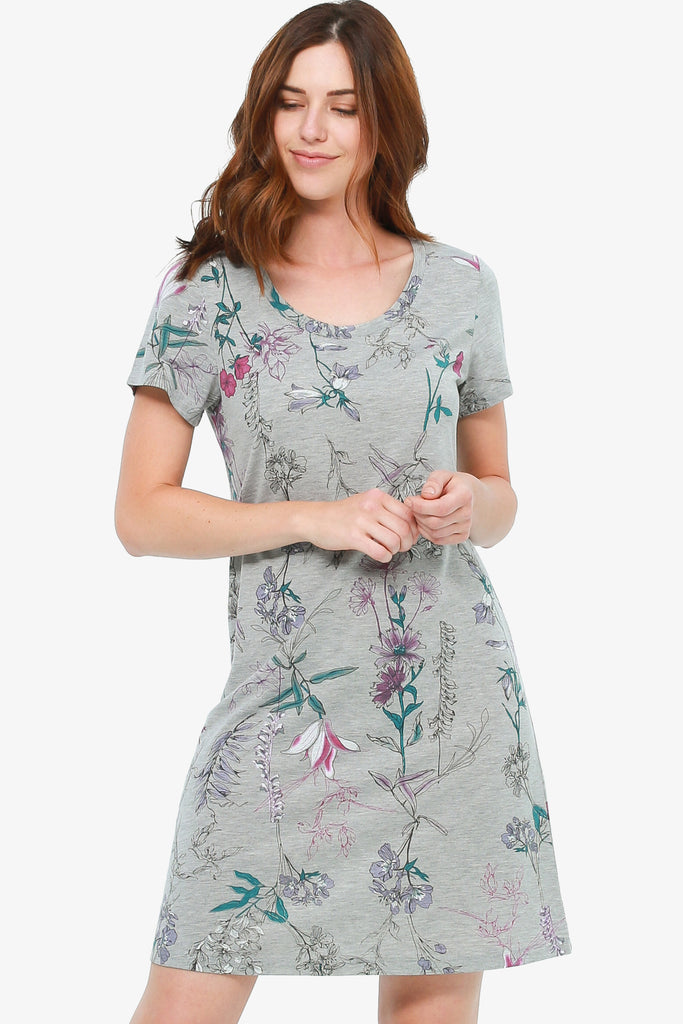 JNY - Printed Jersey Nightshirt (Grey Botanical)