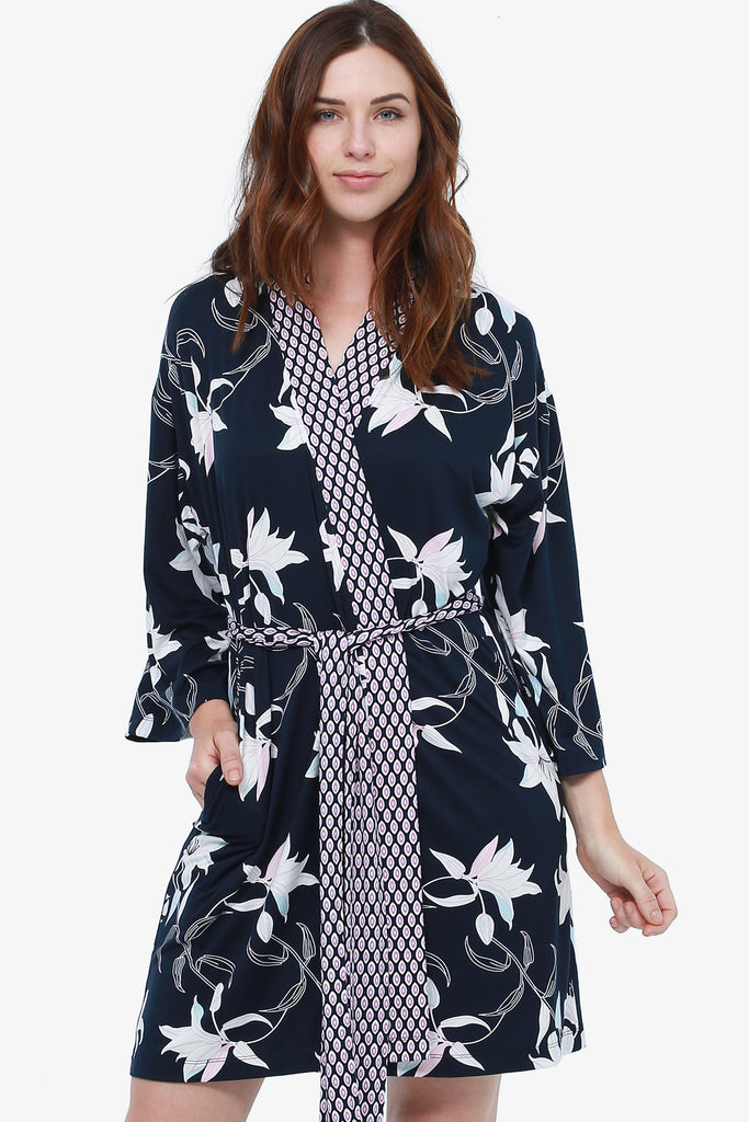 JNY - Stargazer Floral Kimono and Twin Print Nightie Set (Navy)