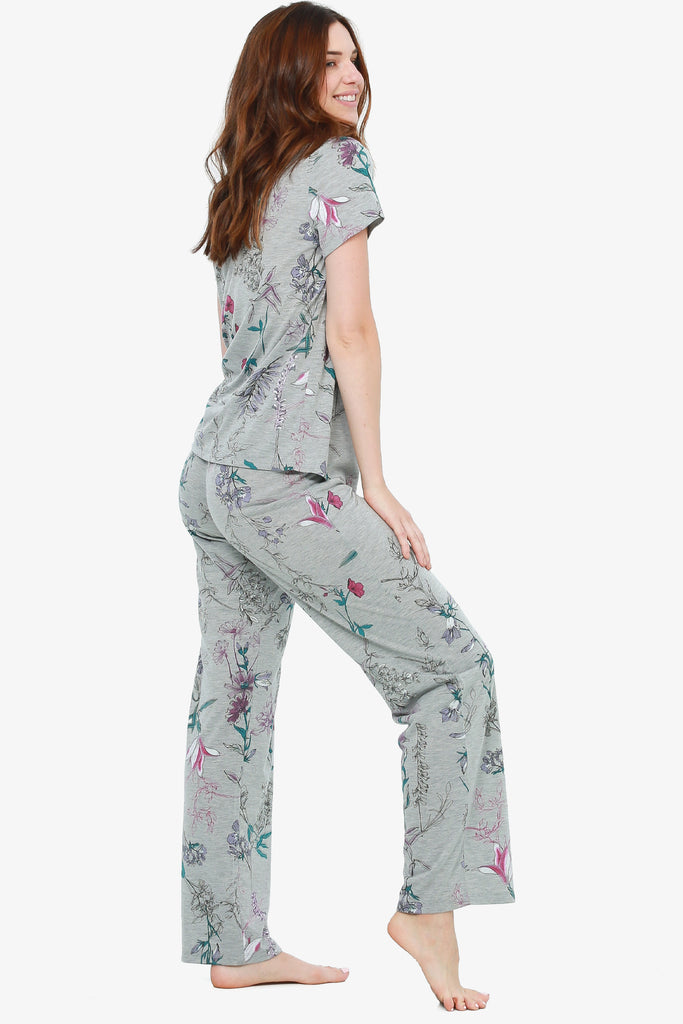 JNY - Printed Jersey Pajama Set (Grey Botanical)