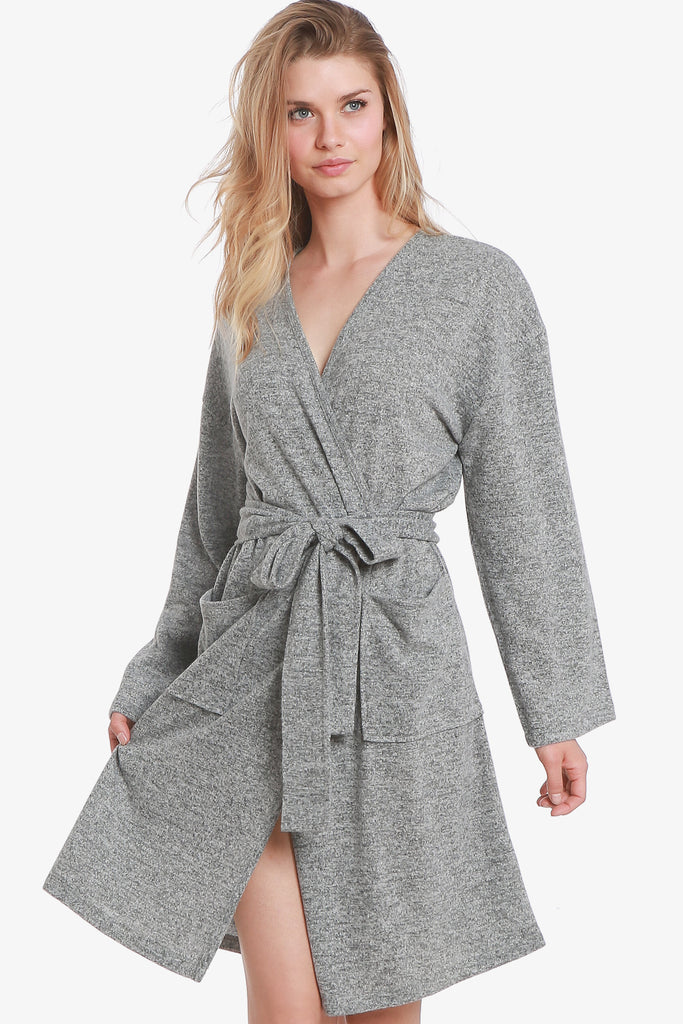 JNY - The Brushed Knit Hacci Robe (Grey)