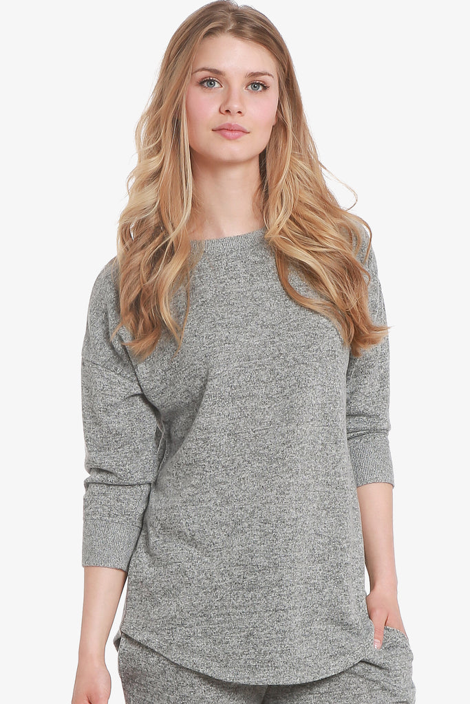 JNY - Brushed Knit Hacci 3/4 Sleeve Pajama Top Only (Grey)