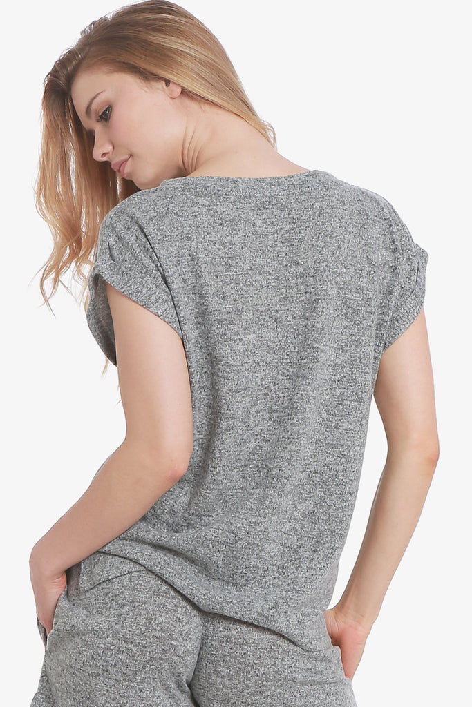 JNY - Brushed Knit Hacci Short Sleeve Pajama Top Only (Grey)